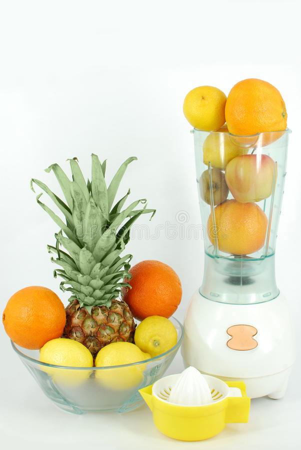 Juicer strainer and fruit stock photography