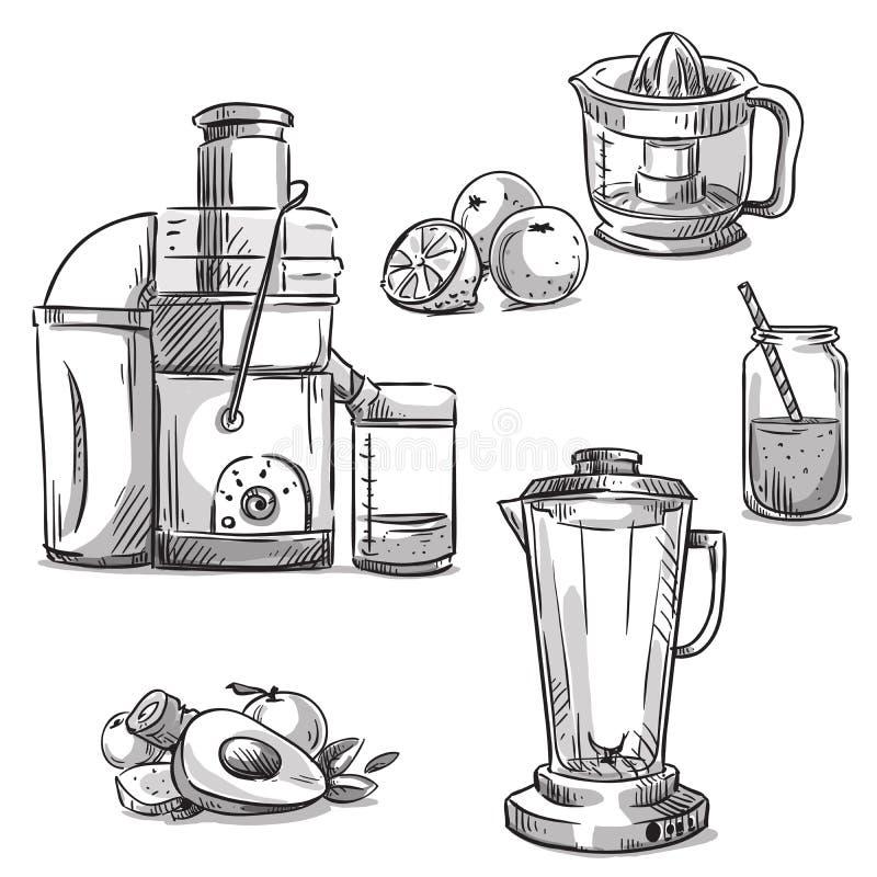 juicers De machines van Juicing mixer Gezond dieet royalty-vrije illustratie
