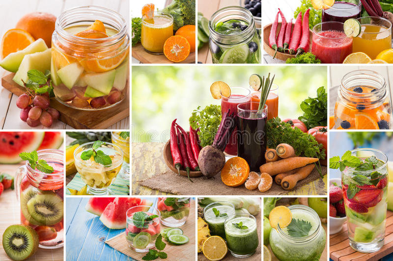 Juices and infused waters from various tropical fruit royalty free stock images