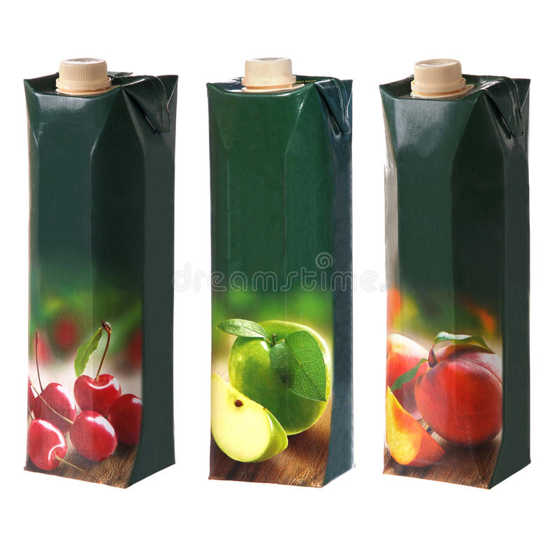 Free Juices Packs With Cap Royalty Free Stock Photos - 42199658