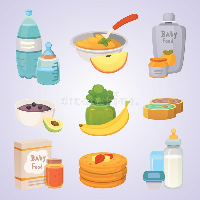 Juices and purees from green apples and broccoli for baby. food for baby cartoon products set. stock illustration
