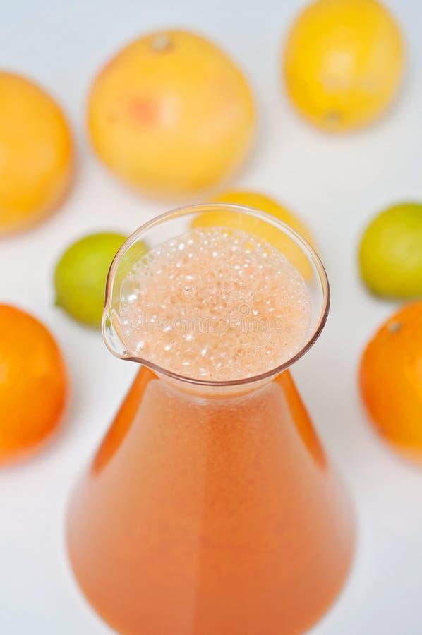 Juicing菜!明亮和五颜六色的果汁饮料、桔子、葡萄、苹果、柠檬和石灰在背景 免版税库存照片