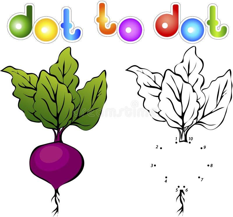 Juicy και ώριμα τεύτλα Εκπαιδευτικό παιχνίδι για τα παιδιά: συνδέστε τους αριθμούς απεικόνιση αποθεμάτων