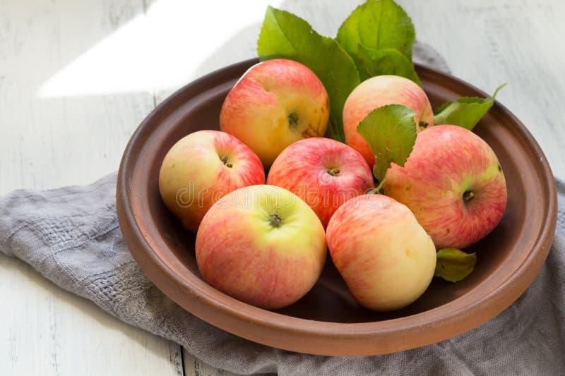 Juicy κόκκινα μήλα σε ένα πιάτο αργίλου σε έναν άσπρο πίνακα στοκ φωτογραφίες