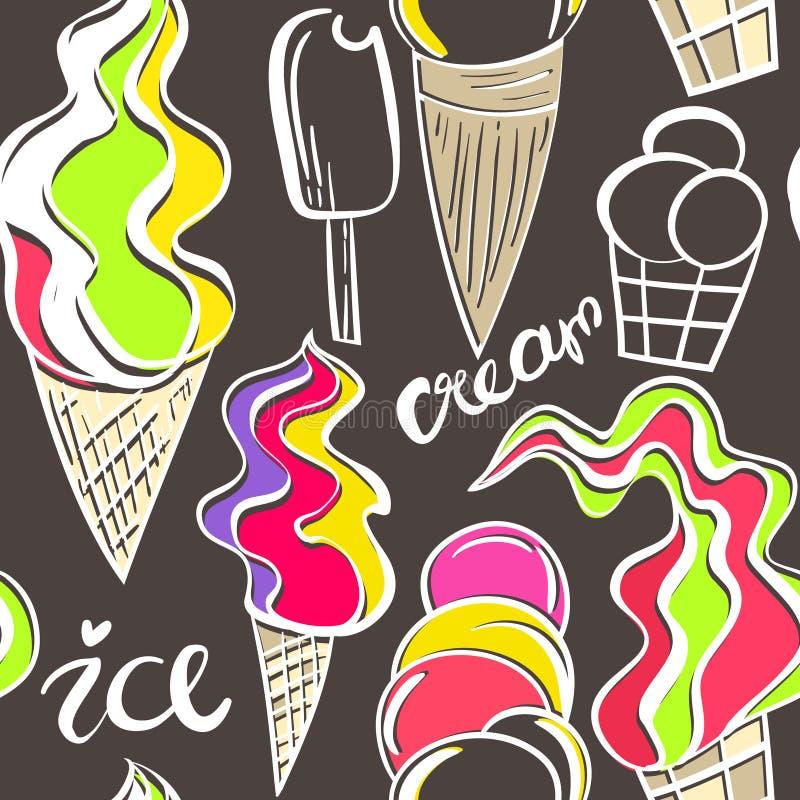 Juicy σχέδιο κώνων παγωτού απεικόνιση αποθεμάτων