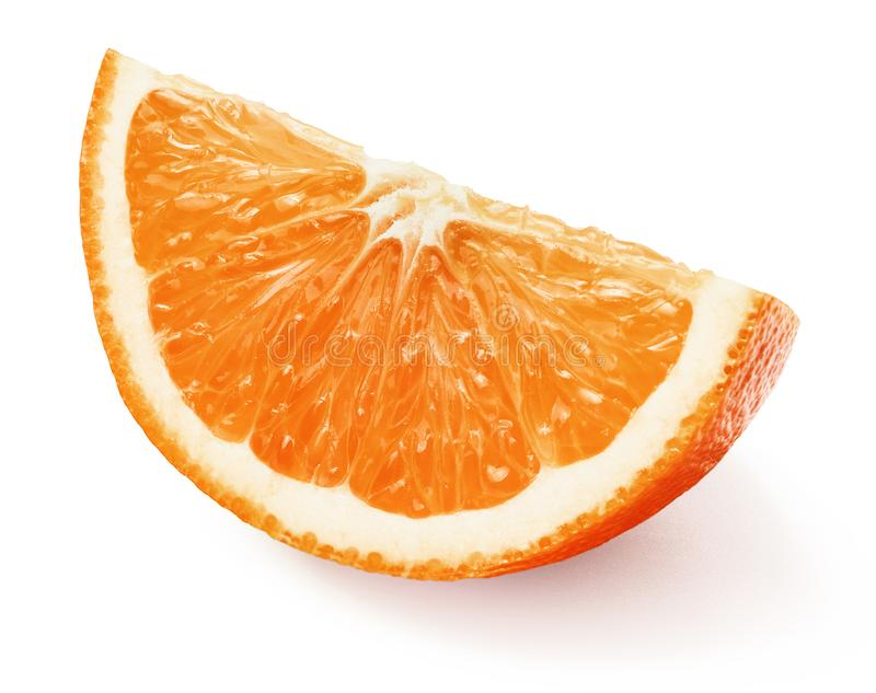 Juicy φρέσκια πορτοκαλιά φέτα με τη φλούδα στοκ εικόνες