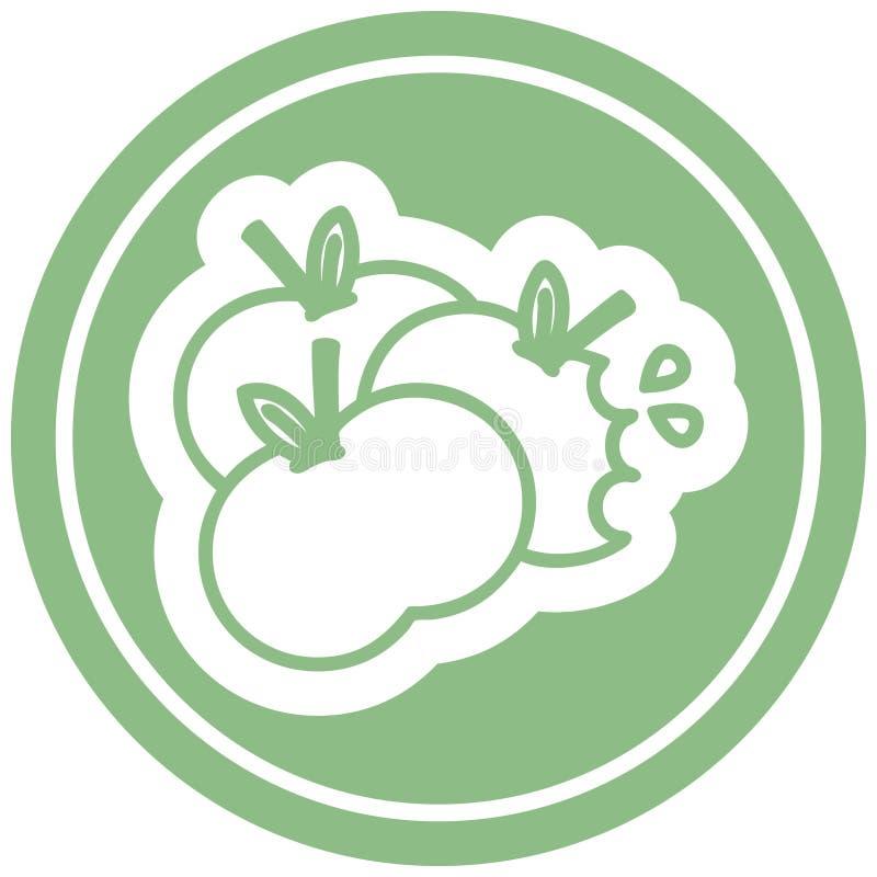 juicy apples circular icon symbol vector illustration