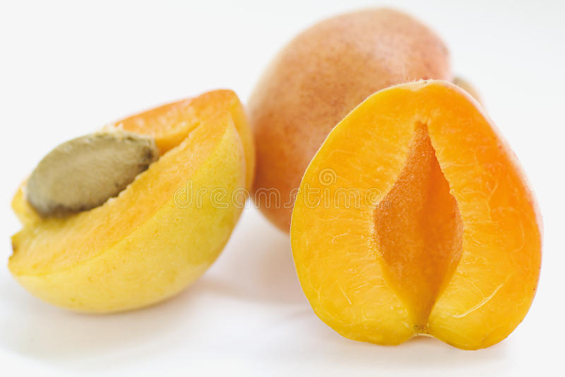 Juicy apricots crop stock photo