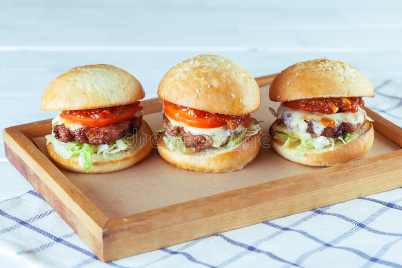 Juicy beef burgers stock image