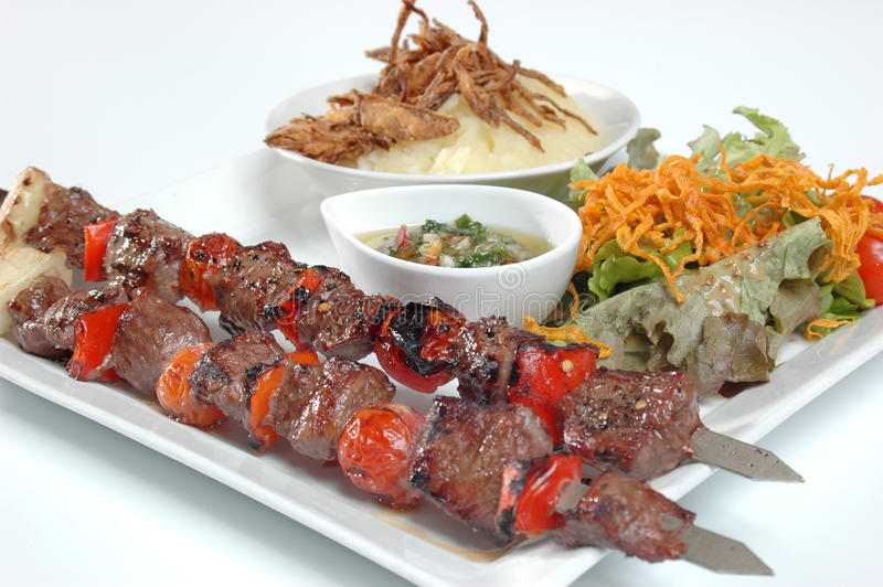 Download Juicy beef kebabs stock photo. Image of meal, rice, kabob - 12560182