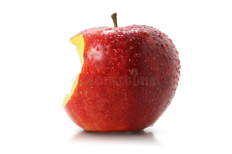 Juicy bite of a red apple