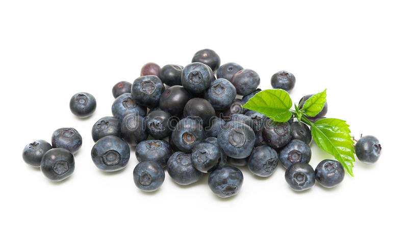 Ripe blueberries on a white background. horizontal photo. Juicy blueberries on a white background. horizontal photo. Top view stock image