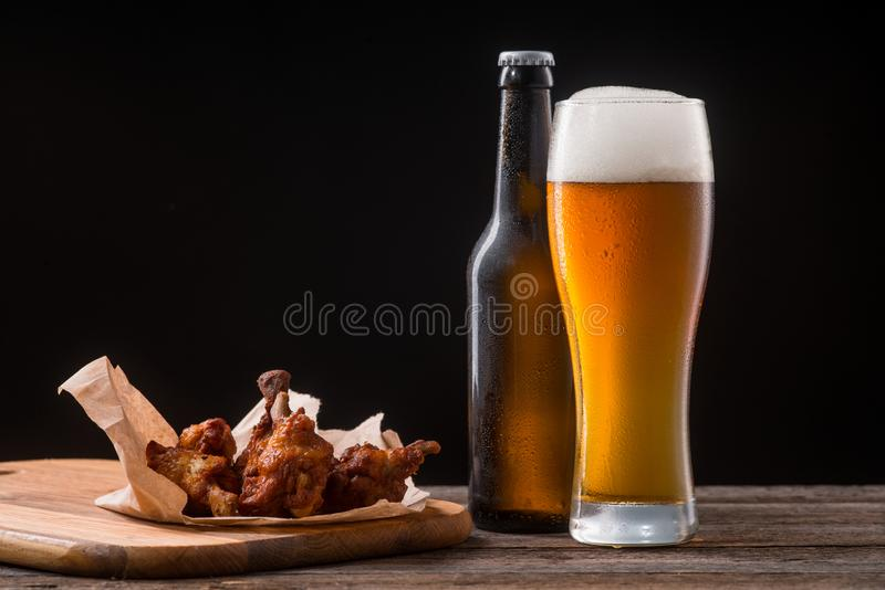 Juicy chicken wings for beer stock photo
