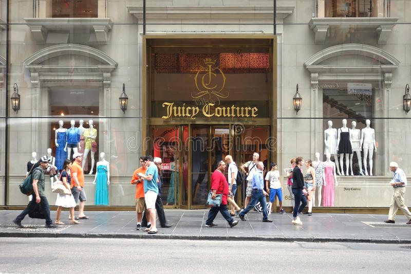 Juicy Couture. A Juicy Couture store on Fifth Avenue, New York City. Juicy Couture is a contemporary casual wear and dress clothing seller stock photo