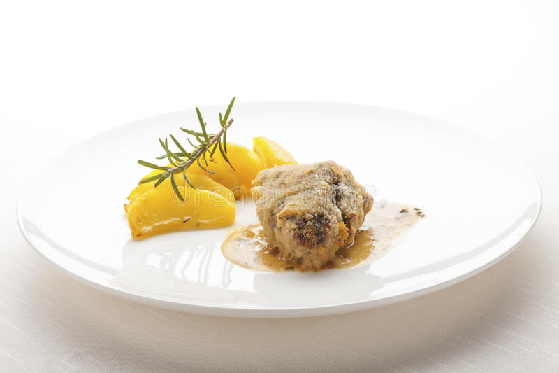 JUicy Crusted Pork Cheek. Gourmet Main Course royalty free stock images