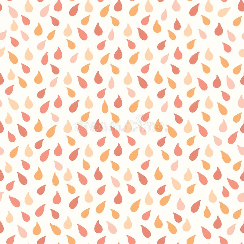 Juicy drops of orange citrus fruit splashes. Hand drawn seamless vector pattern illustration. Fresh wet droplets of tropical juice or coral confetti shapes stock illustration