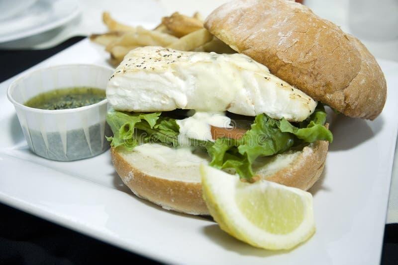 Juicy Fish Burger. A fresh fish burger with a homemade bun and fries royalty free stock image