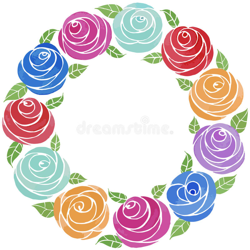 juicy flowers arranged in lovely wreaths stock vector. Black Bedroom Furniture Sets. Home Design Ideas