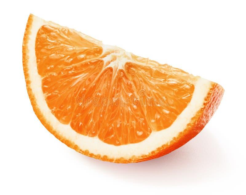 Juicy fresh orange slice with peel stock photo