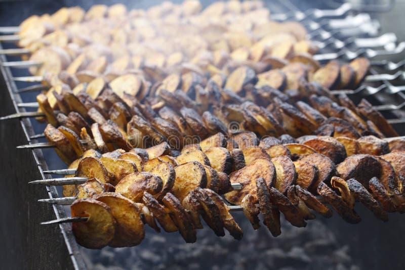 Juicy fried potatoes stock photography