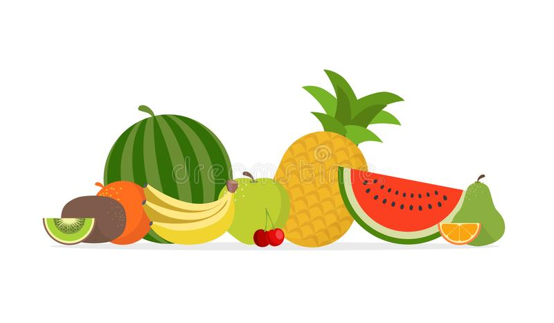 Juicy fruit and berries vector illustration vector illustration