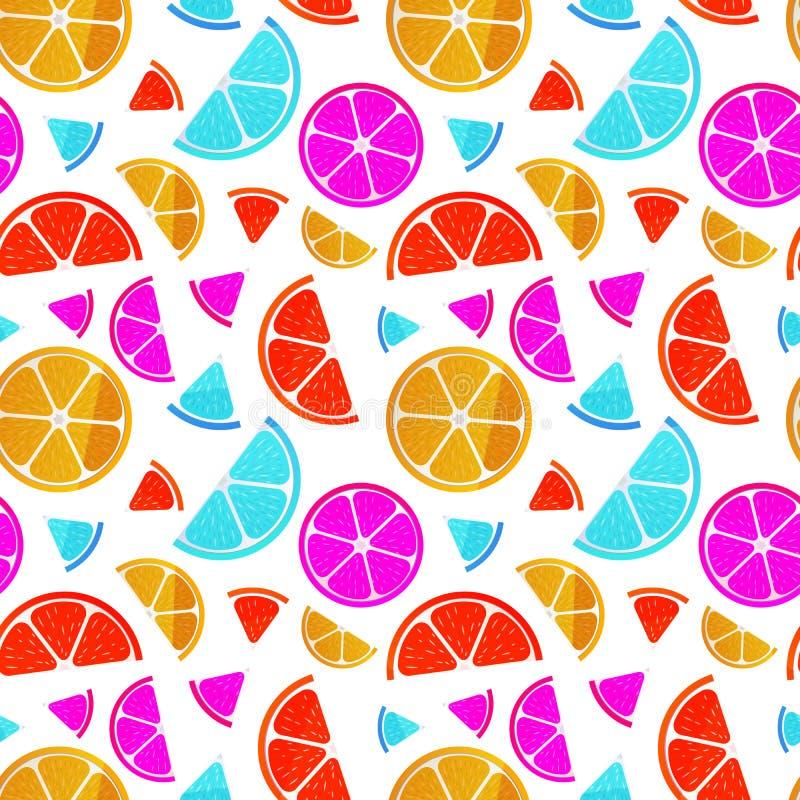 Juicy fruit slices on white, seamless pattern stock illustration