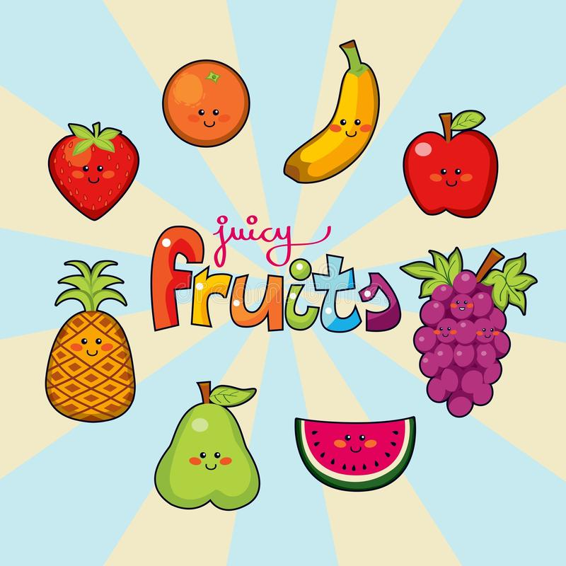 Download Juicy fruits stock vector. Illustration of smile, illustration - 16064718