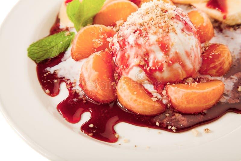 Juicy fruits with icecream stock photo