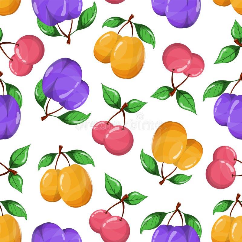 Juicy fruits seamless pattern on white background. Vector illustration. stock illustration