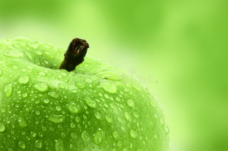 Juicy green apple stock images