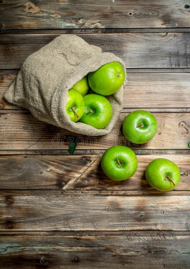 Juicy green apples in an old bag. On grey wooden background royalty free stock photo