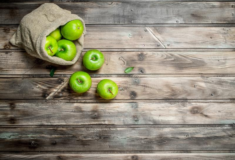 Juicy green apples in an old bag. On grey wooden background royalty free stock image
