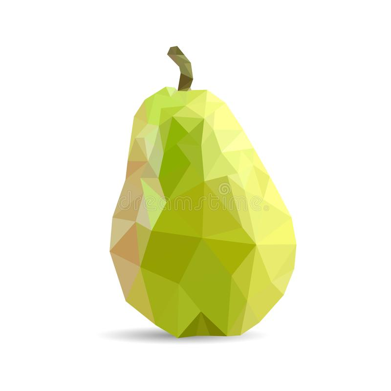 Juicy green pear triangulation. Low poly object on a white background royalty free stock photo