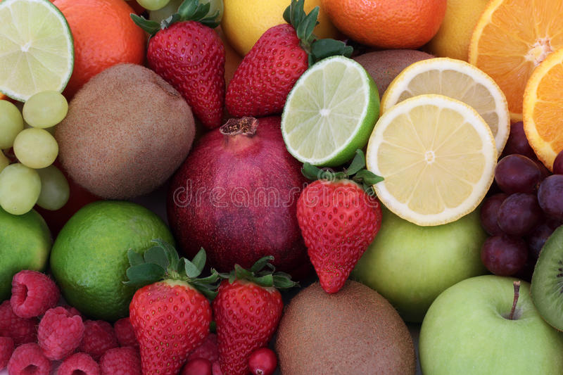 Juicy Health Fruit. Selection forming a background. High in antioxidants, vitamins, anthocyanins and dietary fiber royalty free stock photography
