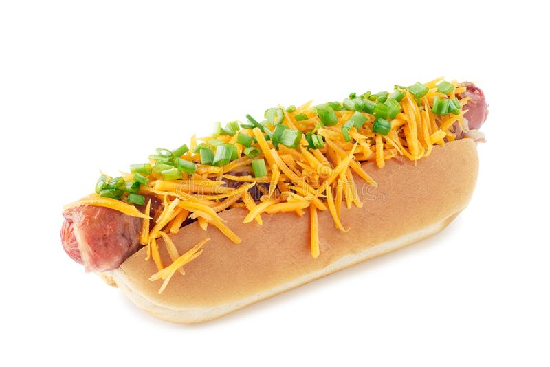Juicy hot dog with cheese and green onion on white royalty free stock image