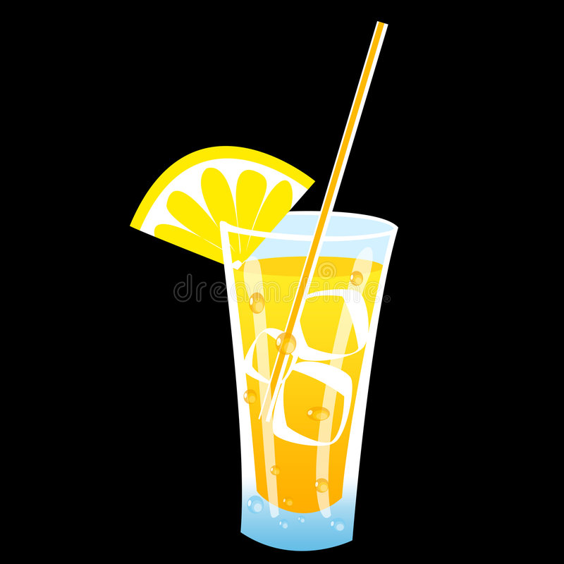 Juicy icy drink. Glass of juice coctail with drops nad lemon and drinking straw royalty free illustration