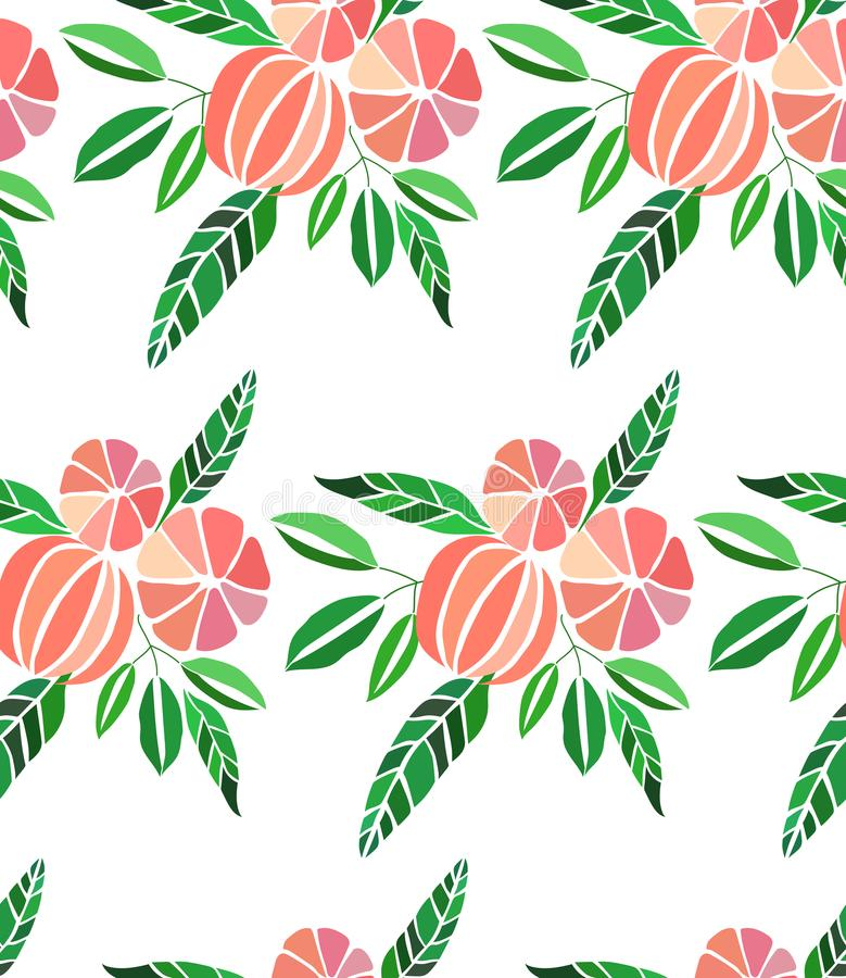 Juicy lovely orange summer autumn dessert slices of oranges and mandarins pattern vector illustration. Perfect for textile, wallpapers, cards stock illustration