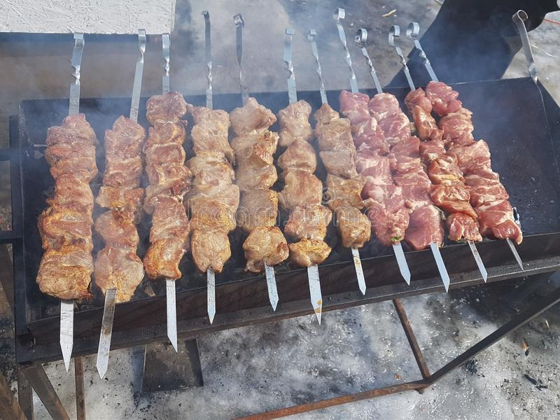 Juicy marinated in spices meat kebab on skewers, cooked and fried on a fire and charcoal barbecue grill, in the nature of snowy. Winter, on a clear day royalty free stock image