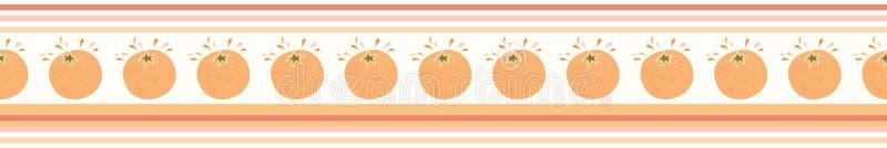 Juicy orange citrus fruit horizontal stripes Hand drawn. Juicy orange citrus fruit horizontal stripes. Hand drawn seamless vector border illustration. Fresh stock illustration