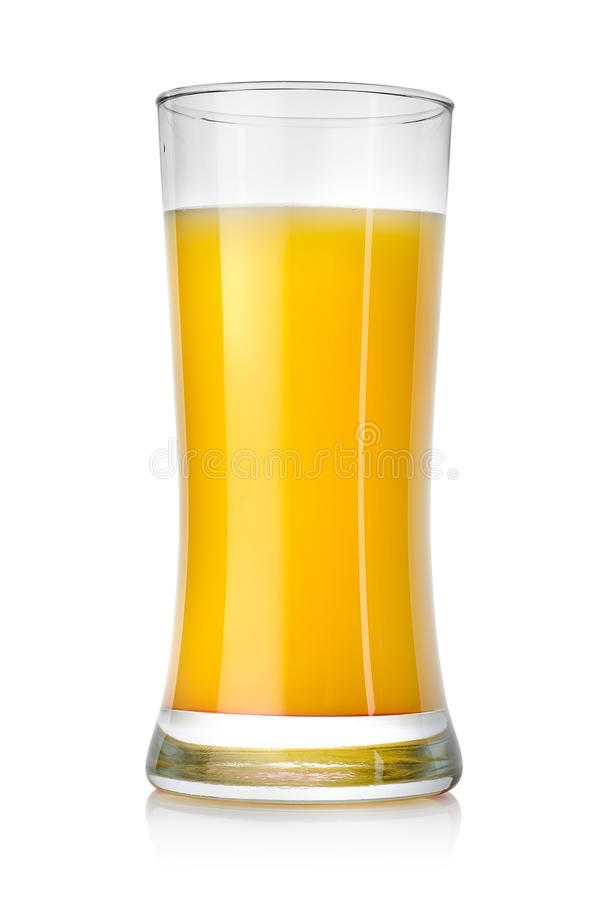 Juicy orange juice in a big glass stock images