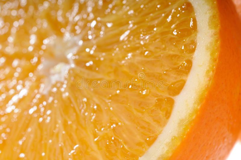 Juicy Orange Slice Very Close-up Stock Photos