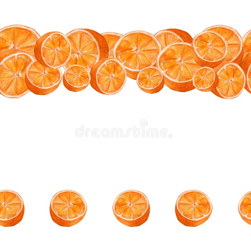 Juicy oranges watercolor art. Hand drawn seamless pattern with citrus fruit on the white background. For used on card, wallpaper, poster, banner, panel or stock illustration