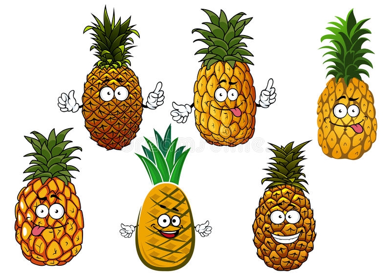 Juicy pineapple fruits cartoon characters vector illustration