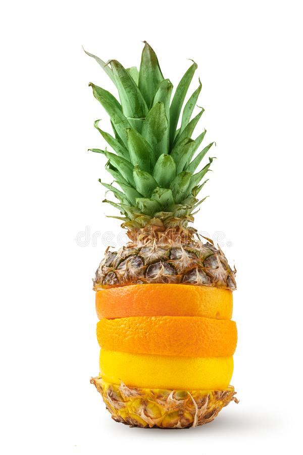 Juicy pineapple, orange and grapefruit cut into pieces on a white background. Isolated royalty free stock photos