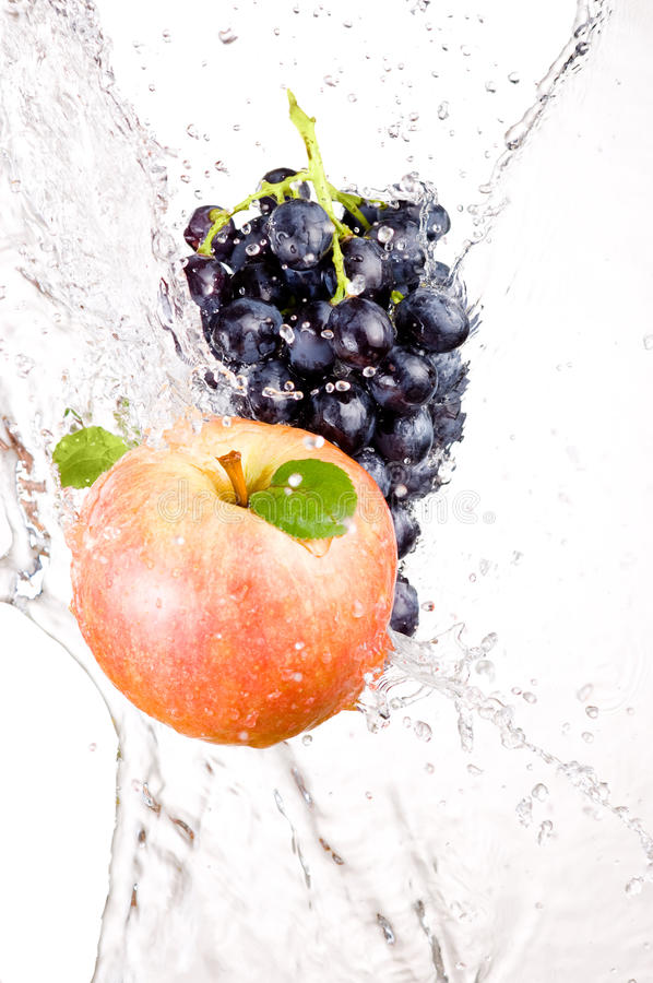 Download Juicy Red Apple And Bunch Of Grapes In Water Stock Image - Image of juice, energy: 28932683