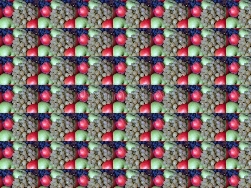 Juicy red and green ripe apples and grapes. Abstract autumn fruit background concept wallpaper with repeated figures. royalty free stock photos