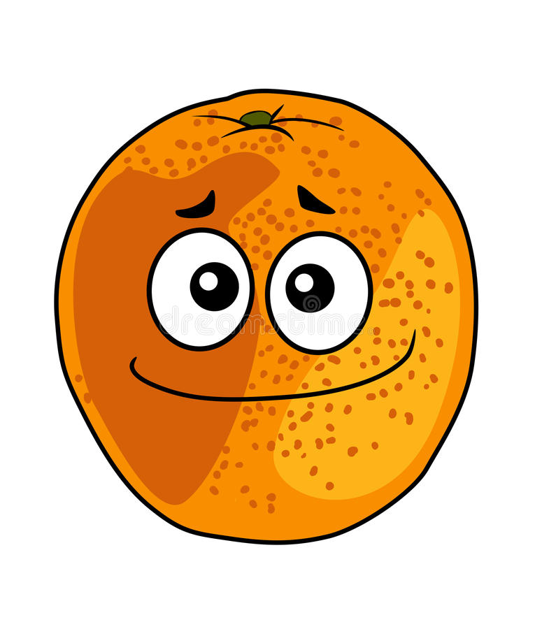 Juicy ripe cartoon orange with a cheeky grin stock illustration