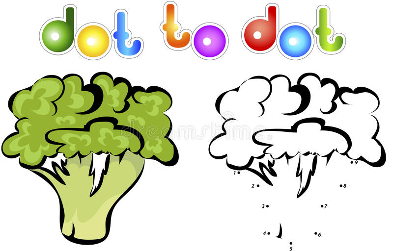 Juicy and ripe cauliflower. Educational game for kids: connect n. Umbers dot to dot and get ready image. Vector illustration for children stock illustration