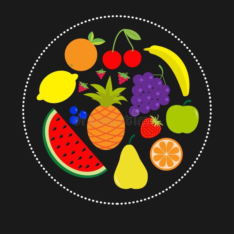 Juicy ripe fruit and berry set. Banana cherry strawberry orange pineapple grape lemon cherry watermellon blueberry pear raspberry royalty free illustration