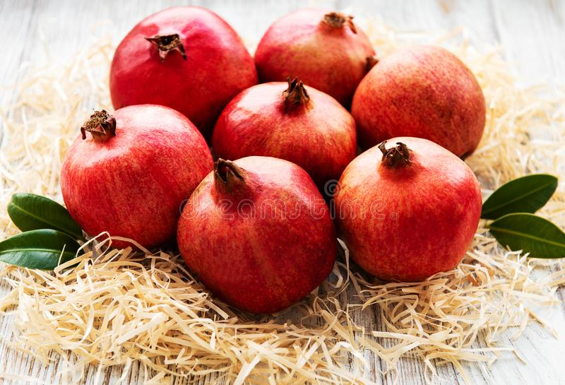 Juicy and ripe pomegranates stock images